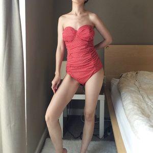Jaclyn Smith Polka Dot Strapless Swimsuit